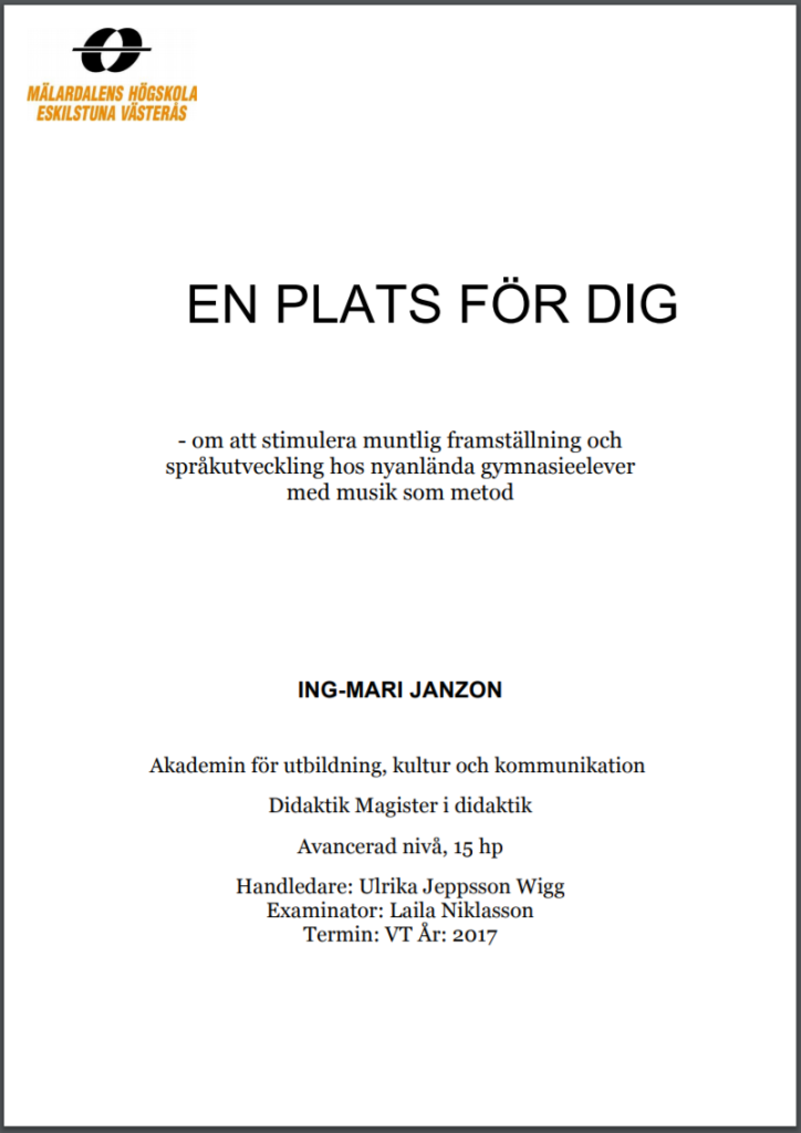 Ing-Mari Janzons magisteruppsats i didaktik